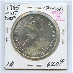 1985 Canada Mint Proof 50% Silver Dollar, ASW .375