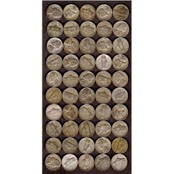 Lot of 50 Jefferson Silver War Nickels, 43-44-45