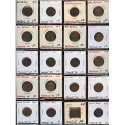 Lot of 20 Great Britain Bronze Farthings, 1912-194
