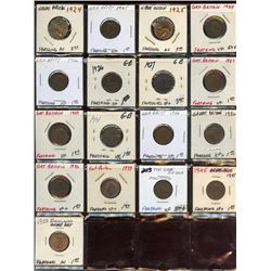 Lot of 17 Great Britain Bronze Farthings, 1924-55