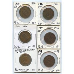 Lot of 6 Great Britain Bronze 1/2 Pennies 1950-62
