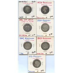 Lot of 7 Great Britain .925 Silver Shillings
