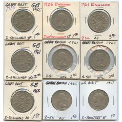 Lot of 9 Great Britain 2 Shilling, 1955-1965