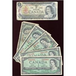 Lot of 6 Canadian $1 Bills, 1954 & 1973
