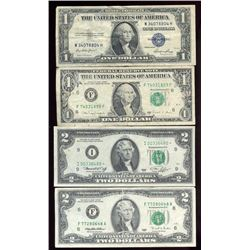 Lot of 4 US Currency Bills, 1935E Silver Cert,