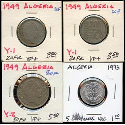 Lot of 4 Algeria 20-50 Francs, 5 Centimes 1949-73
