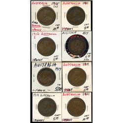 Lot of 8 Australia Large Pennies, 1915-21 XF
