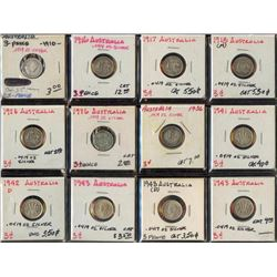Lot of 12 Australia .925 Silver 3 Pence Coins