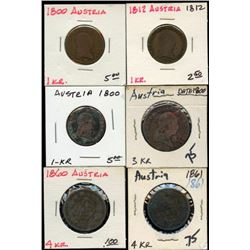 Lot of 6 Austria Copper 1-3-4 Kreuzer 1800-1861