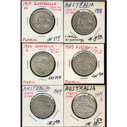 Lot of 6 Australia .925 Silver 1 Florin Coins