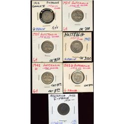 Lot of 7 Australia .925 Silver 6 Pence Coins