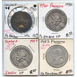Lot of 4 Panama 90% Silver 1/2 Balboa Coins