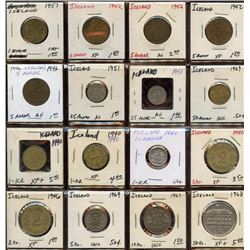Lot of 16 Iceland 1-5-25-50-Aurar & Krona coins