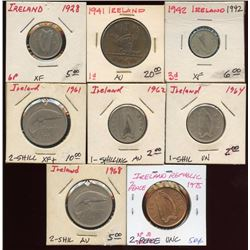 Lot of 8 Ireland Pence & Shilling Coins, 1928-1975