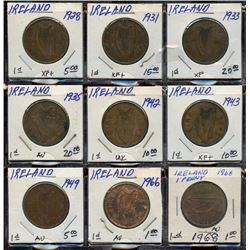 Lot of 9 Ireland Bronze Large Pennies, 1928-1968