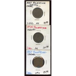 Lot of 3 Palestine Israel 1 Mil High Grade Coins