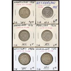 Lot of 6 Netherlands 72% Silver 1 Guldens 1954-56