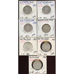 Lot of 7 Netherlands 72% Silver 1 Guldens coins