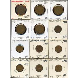 Lot of 12 Newfoundland Canada Large & Small Cents