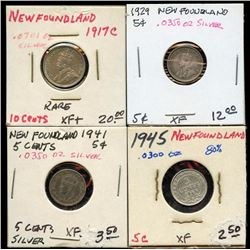 Lot of 4 Newfoundland Canada Silver 5 & 10 Cent pc