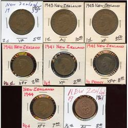 Lot of 8 New Zealand 2-1-1/2 Cent Bronze Coins