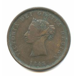 1843 New Brunswick Bronze 1 Penny Token
