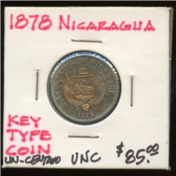 1878 Nicaragua Uncirculated One Centavo Key Coin