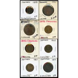 Lot of 8 Denmark Copper Bronze Skillings 1771-1863