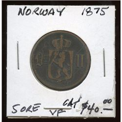 1875 Norway 5 Ore Bronze Coin, VF condition
