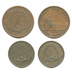 Lot of 4 Canada Bank Tokens Penny & 1/2 Penny