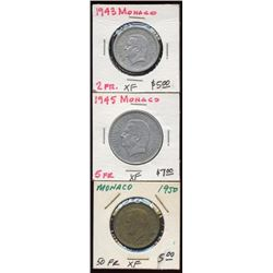 Lot of 3 Monaco 2-5-50 Franc Coins 1943-50