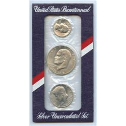 1976 US Mint Bicentennial Silver UNC 3 Coin Set