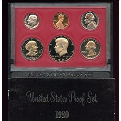 1980 US Mint 6 Coin Proof Set with box