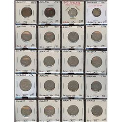 Lot of 20 Malaya 1-10-20 Cent Coins, 2 silver