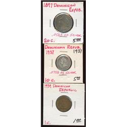 Lot of 3 Dominican Republic 1-10-20 Centavos coins