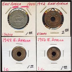 Lot of 4 East Africa Shilling & Cents 1942-1956