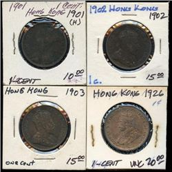 Lot of 4 Hong Kong Large Cents, 1901-1926 UNC