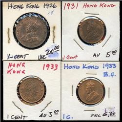 Lot of 4 Hong Kong Cents, Lg & Small, 1926-1933