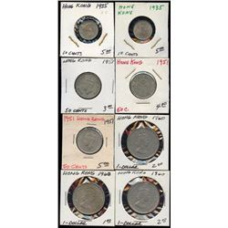 Lot of 8 Hong Kong 10-50 Cents & $1Coins 1935-60