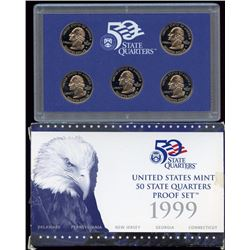 1999 US Mint 5 State Quarters Proof Set with box