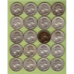 $5 Face 90% Silver 1964D & 64 Washington Quarters