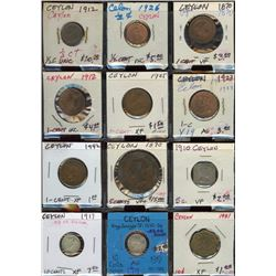 Lot of 12 Ceylon 1/2-1-5-10 Cent Coins 1870-1951