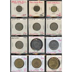 Lot of 12 Costa Rica Centamos & Colones 1865-2000