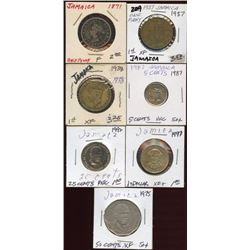 Lot of 7 Jamaica 1/2 Penny, Penny 5-25-50 Cents $1
