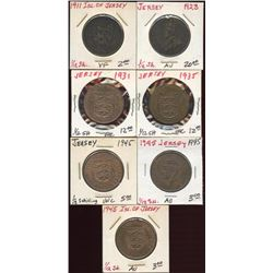 Lot of 7 Isle of Jersey 1/12th Shilling Coins
