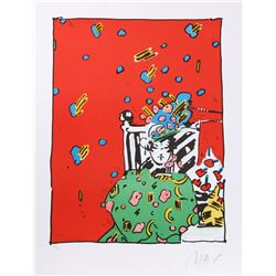 Peter Max, Lady in Green, Lithograph