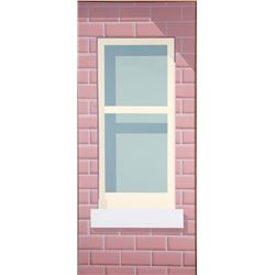 Brick Wall with Window, Oil Painting by Unknown Artist