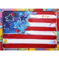 Peter Max, Flag with Heart, Acrylic Painting