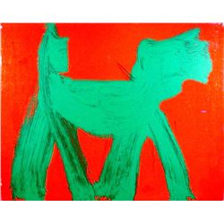 Peter Mayer, Dog (Green on Red) (6), Acrylic Painting