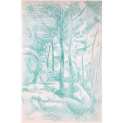 Laurent Marcel Salinas, Forest (Green) 356, Crayon Drawing